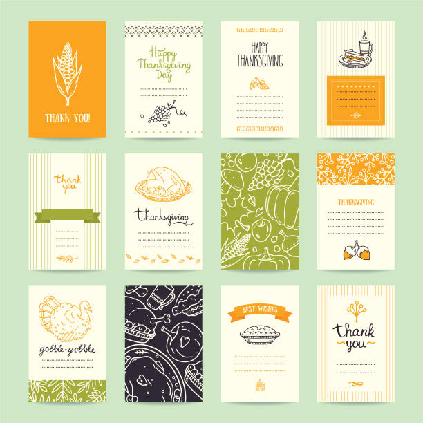 thanksgiving congratulation cards, flyers, posters - thanksgiving turkey stock illustrations