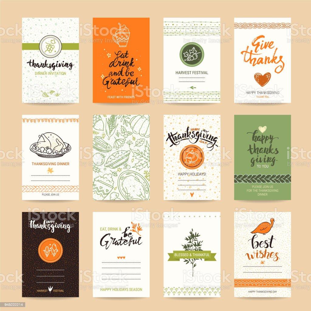 Modelos de Design de cartão de parabéns de ação de Graças - ilustração de arte em vetor