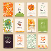 Thanksgiving congratulations poster, banner, invitation, greeting card, flyer, menu templates. Hand drawn vector collection with traditional Thanksgiving symbols, cute design elements, handwritten ink lettering, thin line icons.