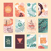 Thanksgiving vector set. Congratulation card, party invitation, poster, flyer, banner template collection. Hand drawn abstract textures, thin line icons. Festive quotes Happy Thanksgiving, Give Thanks