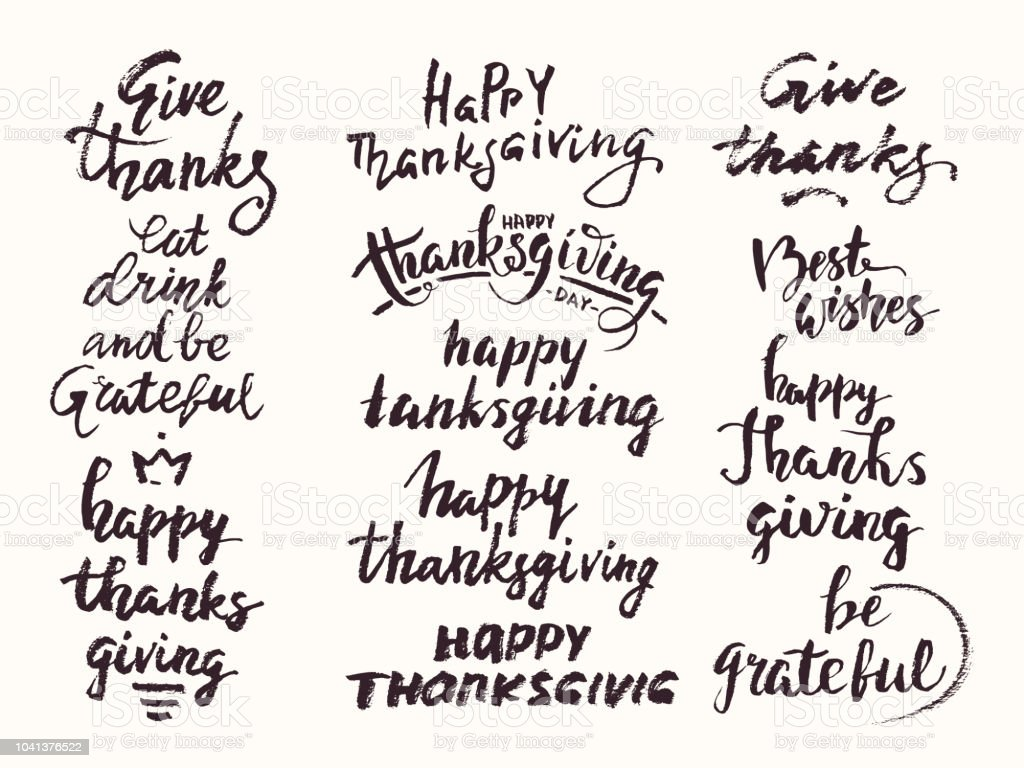 Thanksgiving Congratulations Phrases Collection Hand Drawn Lettering Handwritten Vector Calligraphy Set For Invitation