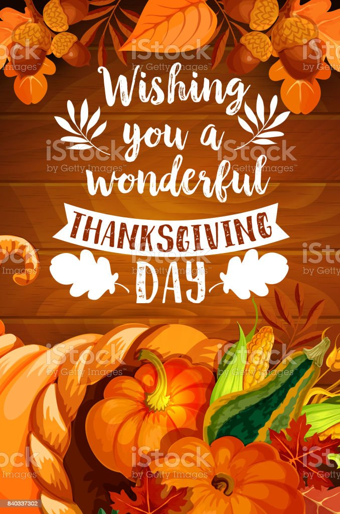 Thanksgiving cornucopia on wood background poster vector art illustration
