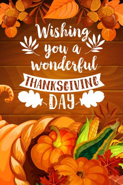 Thanksgiving cornucopia on wood background poster vector art illustration