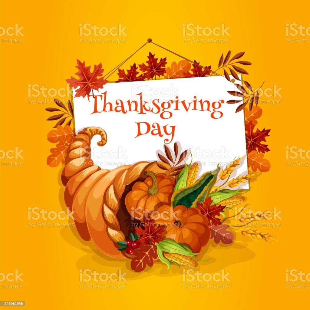 Thanksgiving cornucopia plenty horn greeting card vector art illustration