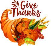 Thanksgiving cornucopia symbol of autumn harvest