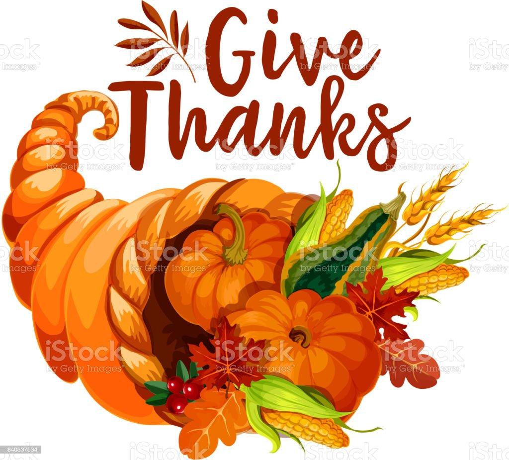 Thanksgiving cornucopia symbol of autumn harvest vector art illustration
