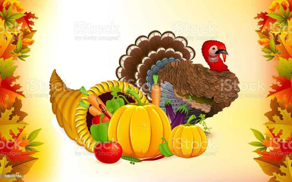 Thanksgiving Cornucopia with Turkey vector art illustration