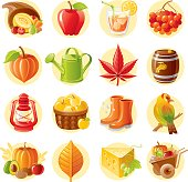 Thanksgiving and autumn icon set.