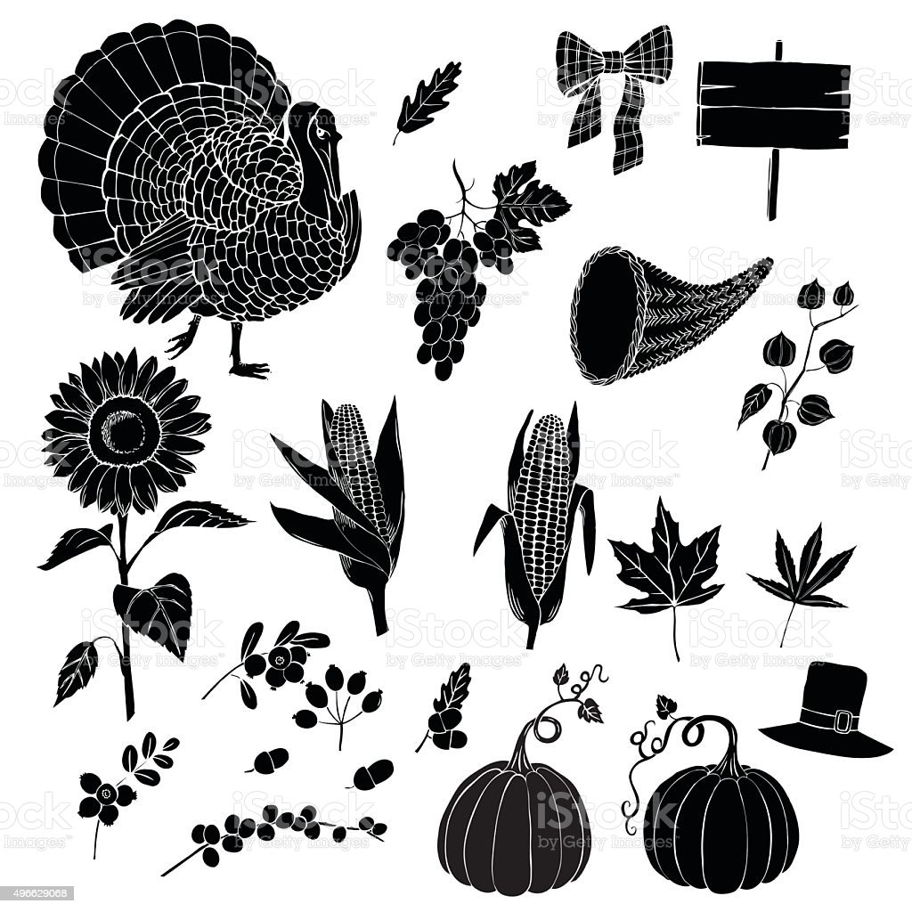 Thanksgiving day and harvest vector art illustration