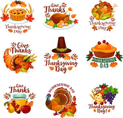 Thanksgiving day autumn holiday vector icons
