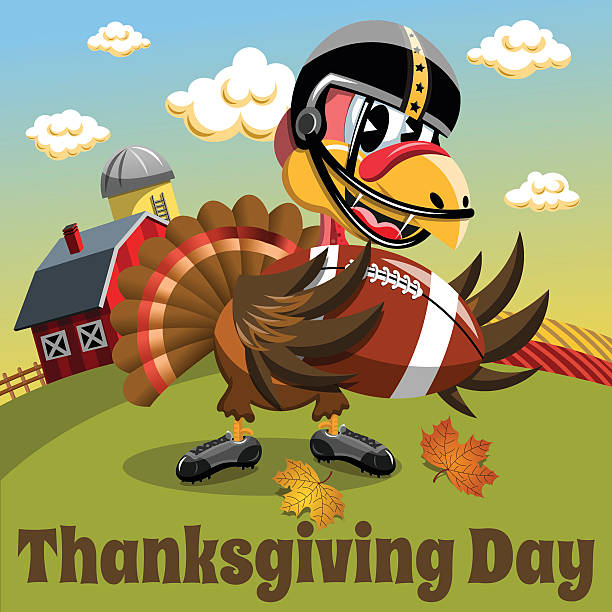 football turkey bird cartoon character running in thanksgiving super bowl  vector illustration isolated on white clipart. Commercial use GIF, JPG,  PNG, EPS, SVG, AI, PDF clipart # 400057 | Graphics Factory