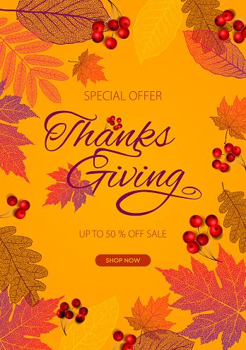 Thanksgiving day banner, autumn template, vector illustration.
