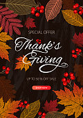 Thanksgiving day banner background. Celebration quotation for card, vector illustration. Autumn season inscription