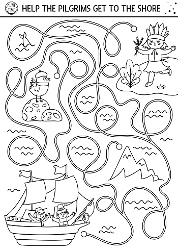 Thanksgiving Day black and white maze for children. Autumn line holiday preschool printable activity. Fall outline labyrinth game or puzzle with first Americans sailing on Mayflower