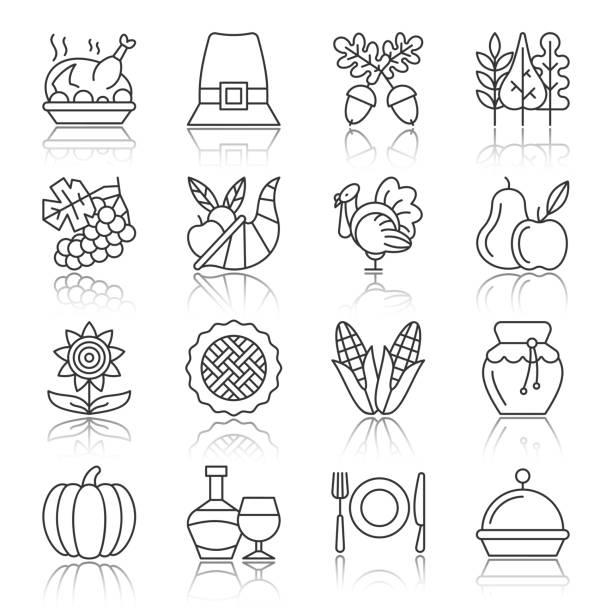 thanksgiving day black thin line icon set - pumpkin pie stock illustrations
