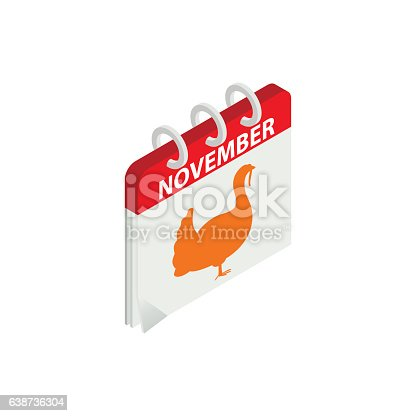 istock Thanksgiving day calendar date isometric 3d icon 638736304