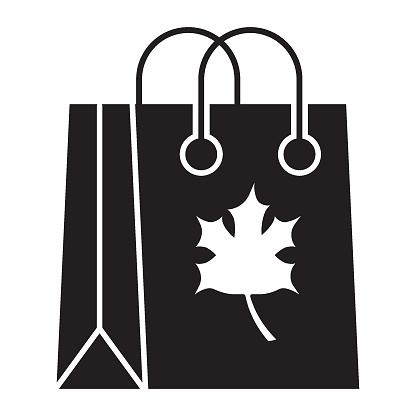 Thanksgiving day canada shopping and Maple Leaf Mark Vector Icon Design