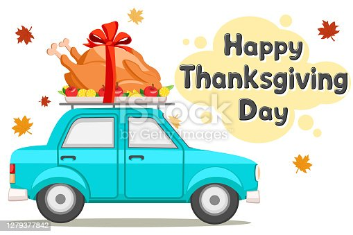 istock Thanksgiving Day. Car driving roast bird turkey 1279377842