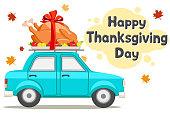 istock Thanksgiving Day. Car driving roast bird turkey 1279377842