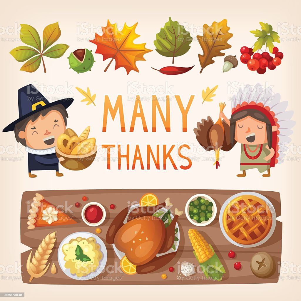 Thanksgiving day card elements vector art illustration