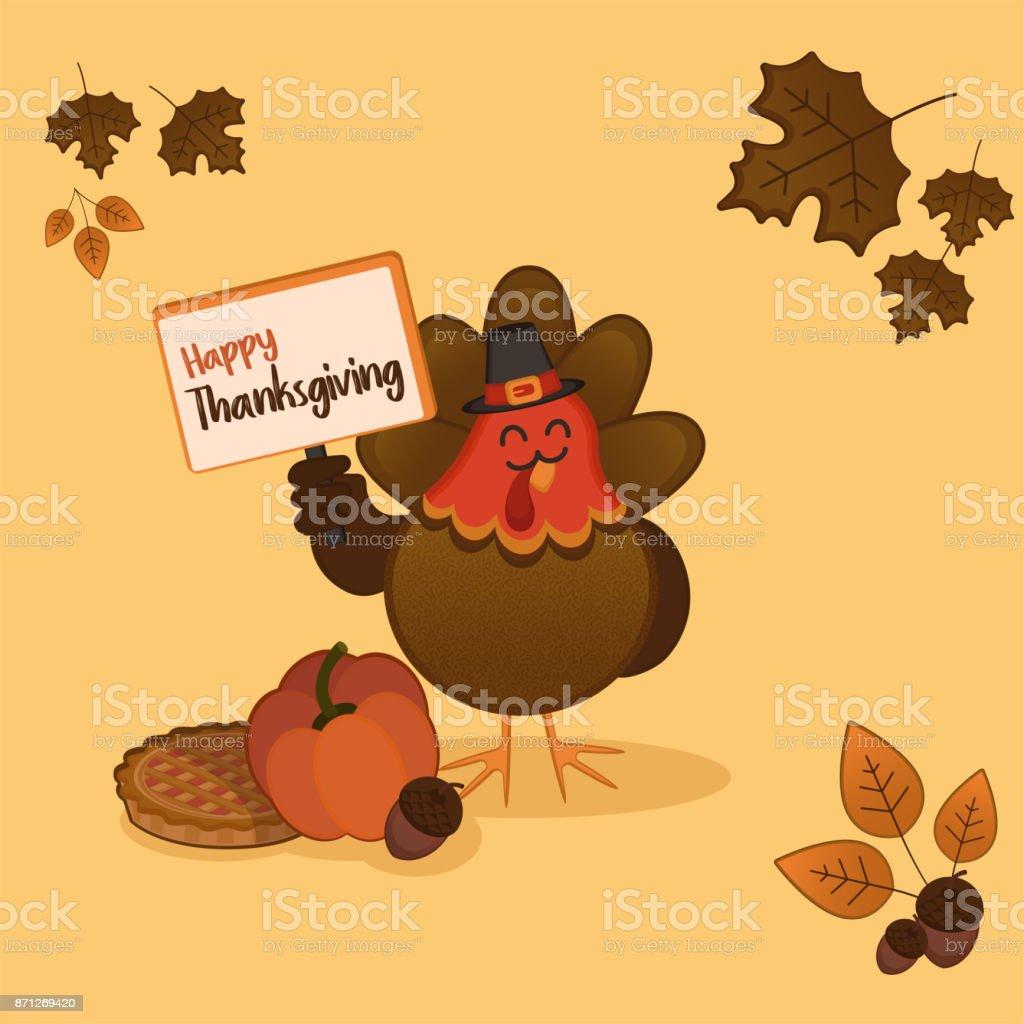 Thanksgiving day card turkey vector art illustration
