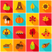 Thanksgiving Day Colorful Icons. Vector Illustration. Set of Seasonal Holiday Objects.