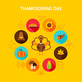 Thanksgiving Day Concept. Vector Illustration. Autumn Holiday Infographics.