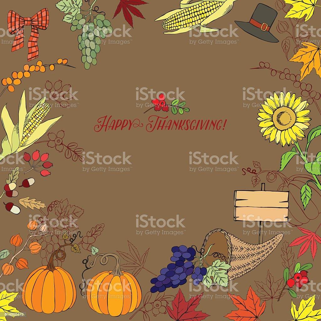 Thanksgiving Day Decorations vector art illustration