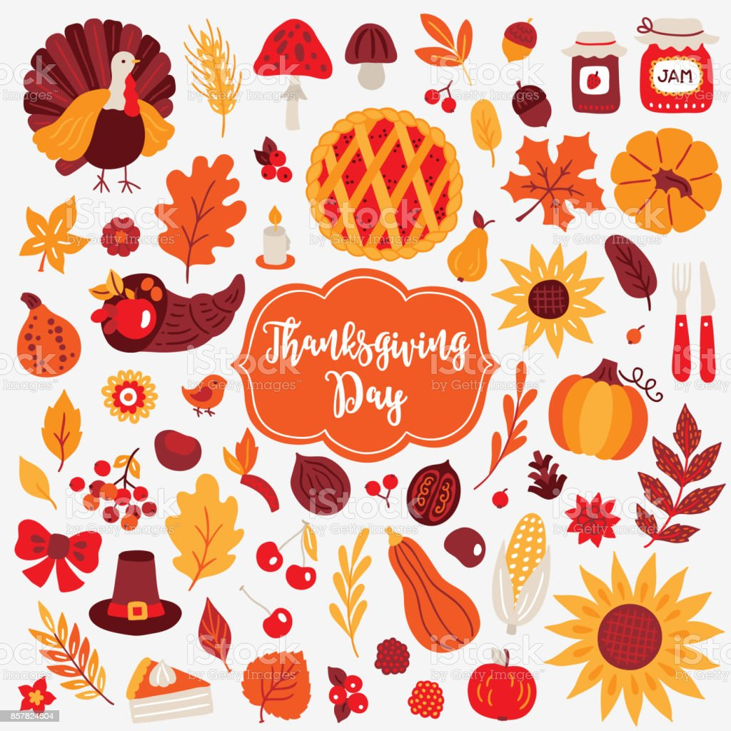 Thanksgiving Day design elements. Turkey, mushroom, acorn, berry, jam, pumpkin vector art illustration
