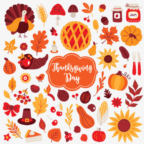 thanksgiving day design elements. turkey, mushroom, acorn, berry, jam, pumpkin - thanksgiving turkey stock illustrations