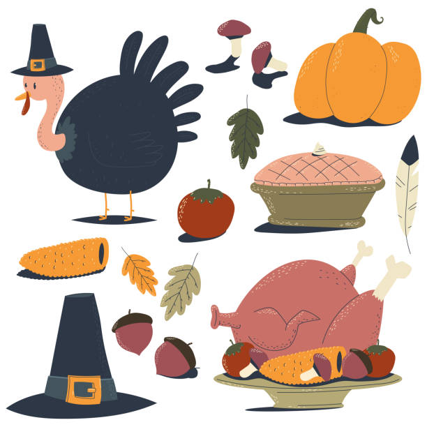 thanksgiving day design elements vector cartoon set isolated on a white background. - pumpkin pie stock illustrations