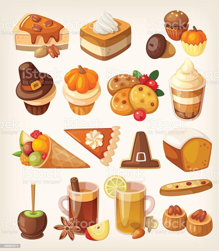 Thanksgiving day desserts vector art illustration