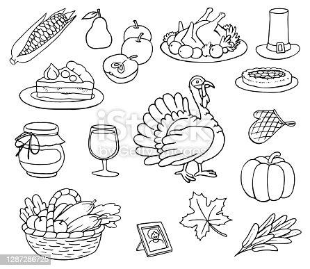 Thanksgiving Day Doodles Set