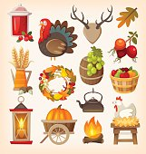 Set of colorful vector graphic elements for thanksgiving day. Isolated illustrations