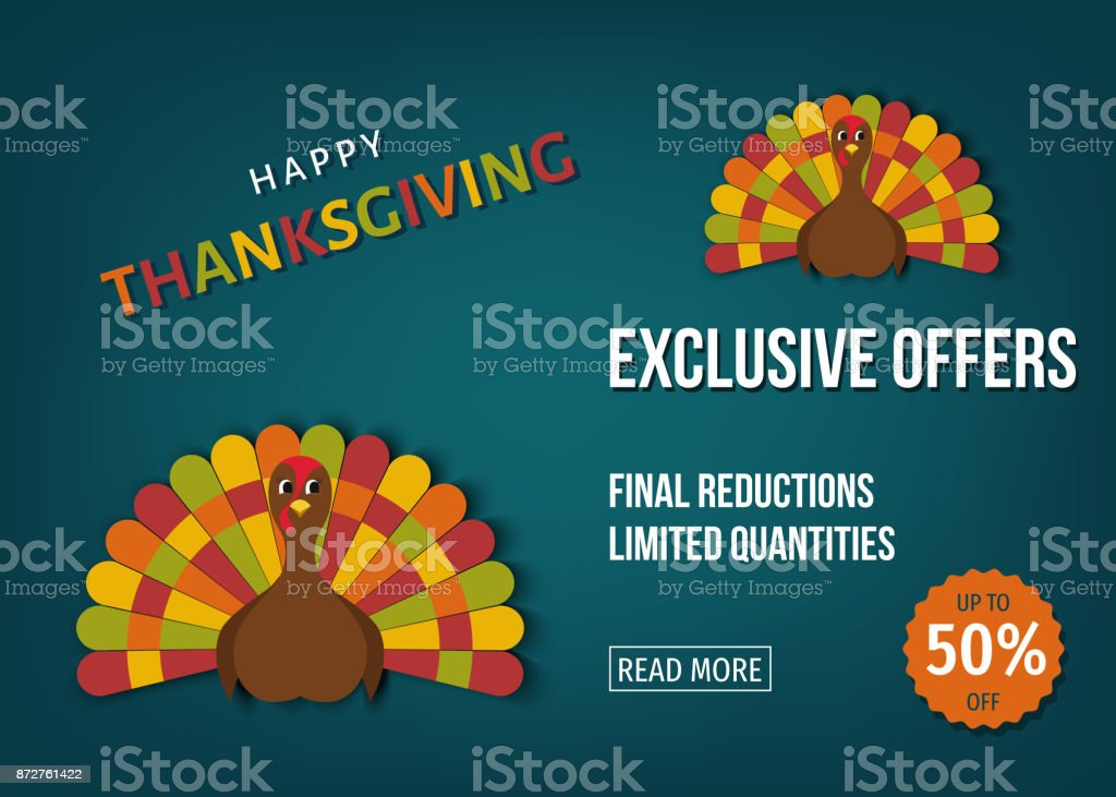 Usa Thanksgiving Day Exclusive Offers Banner Stock Illustration Download Image Now Istock