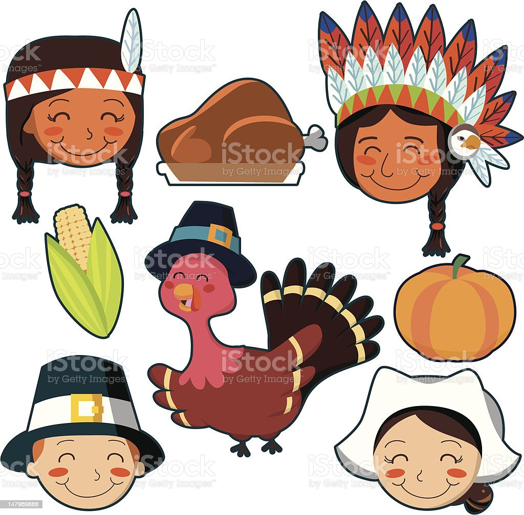 Thanksgiving Day faces and elements set royalty-free stock vector art