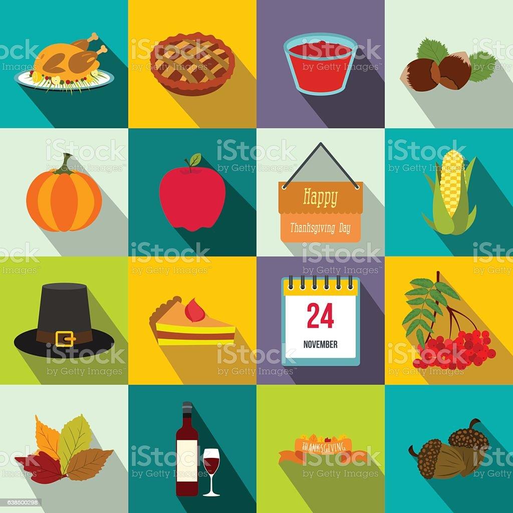 Thanksgiving day flat icons vector art illustration