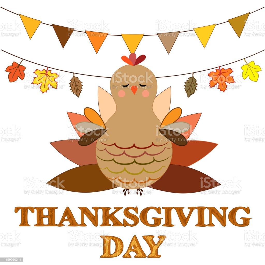 Thanksgiving Day Greeting Card Illustration Of Turkey Bird