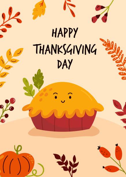 感恩節賀卡與有趣的美味南瓜派。彩色向量插圖。 - pumpkin pie 幅插畫檔、美工圖案、卡通及圖標