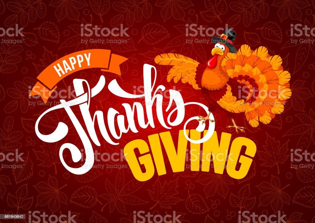Thanksgiving day greeting vector art illustration