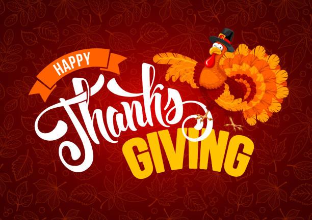 thanksgiving day greeting - thanksgiving turkey stock illustrations
