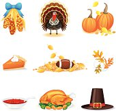 Thanksgiving Day Icons. Complete with Football!