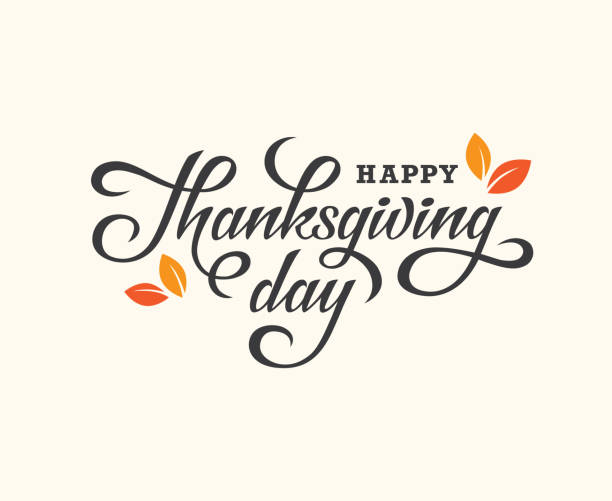 thanksgiving day lettering card. - thanksgiving stock illustrations