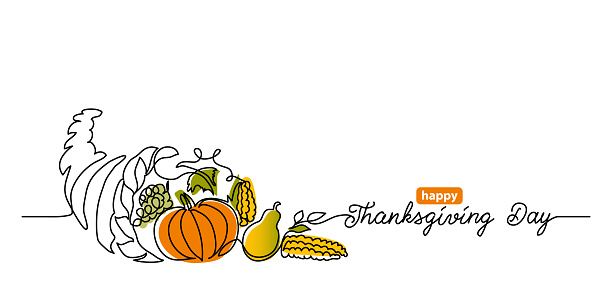 Thanksgiving Day line art background with horn of plenty, cornucopia and vegetables. Simple vector web banner. One continuous line drawing with lettering happy Thanksgiving Day