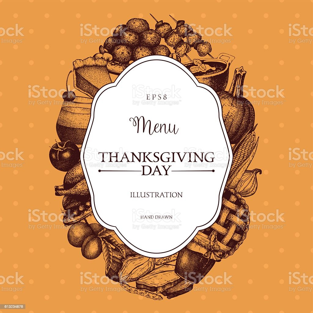 Thanksgiving Day menu design. vector art illustration