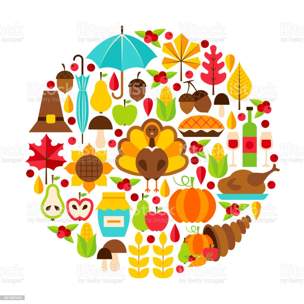 Thanksgiving Day Objects Concept vector art illustration