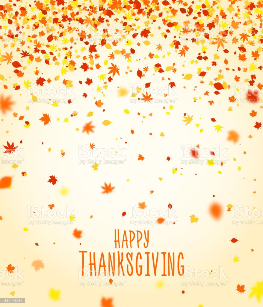 Thanksgiving day poster design. Autumn greeting card, holiday season banner. Beautiful background with colorful fall falling leaves. vector art illustration