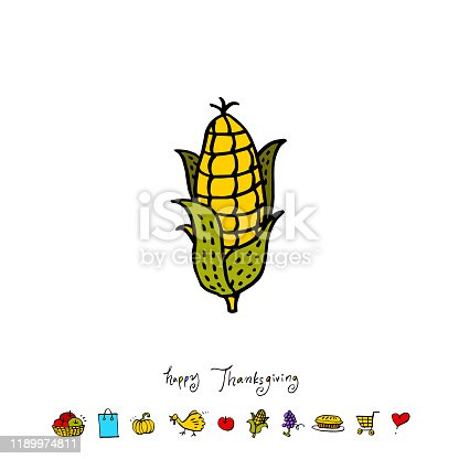 Hand drawn thanksgiving day day illustration - vector