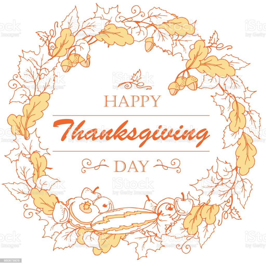 Thanksgiving day poster with autumn leaves, vegetables and fruits on white background. vector art illustration