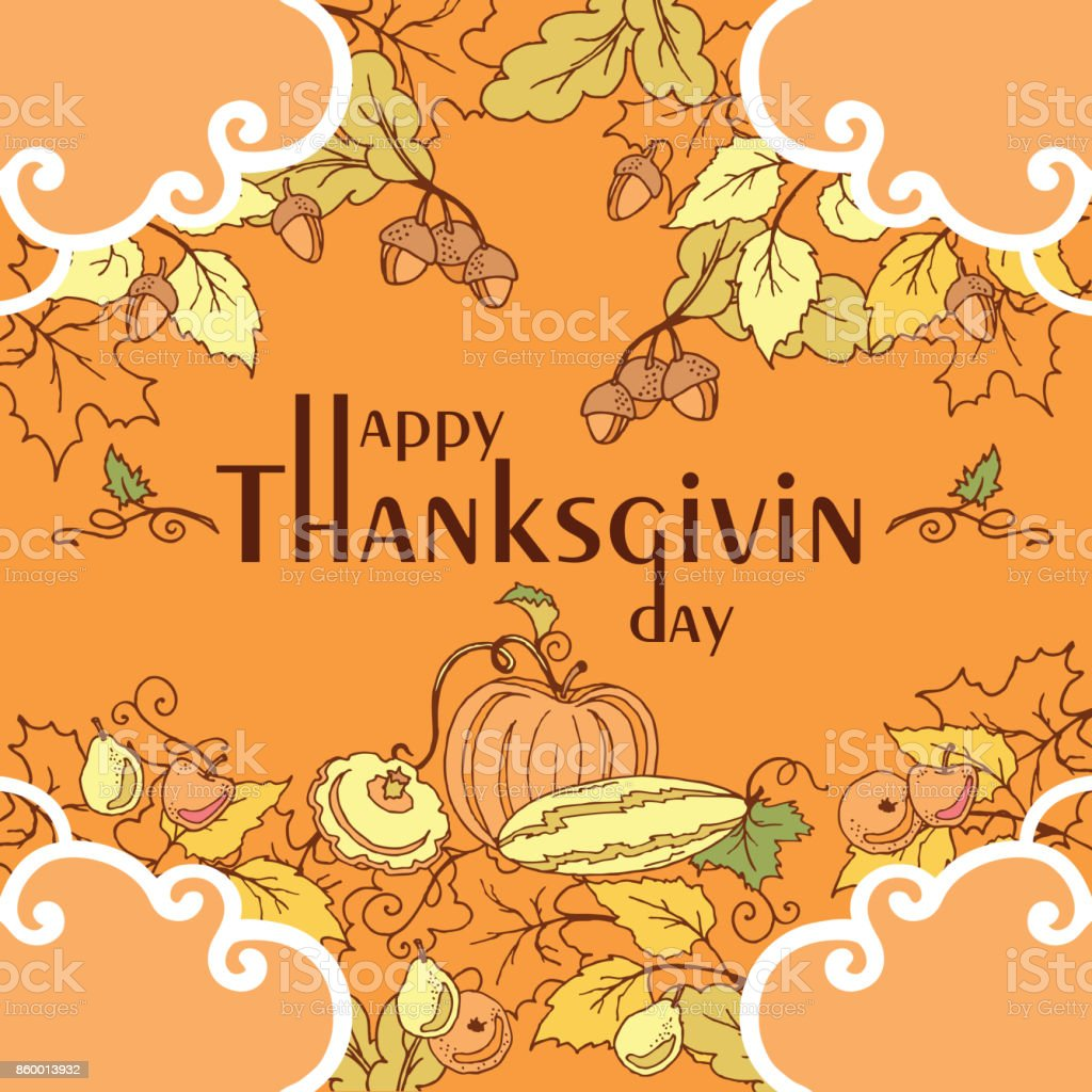 Thanksgiving day poster with autumn leaves, vegetables and fruits. vector art illustration